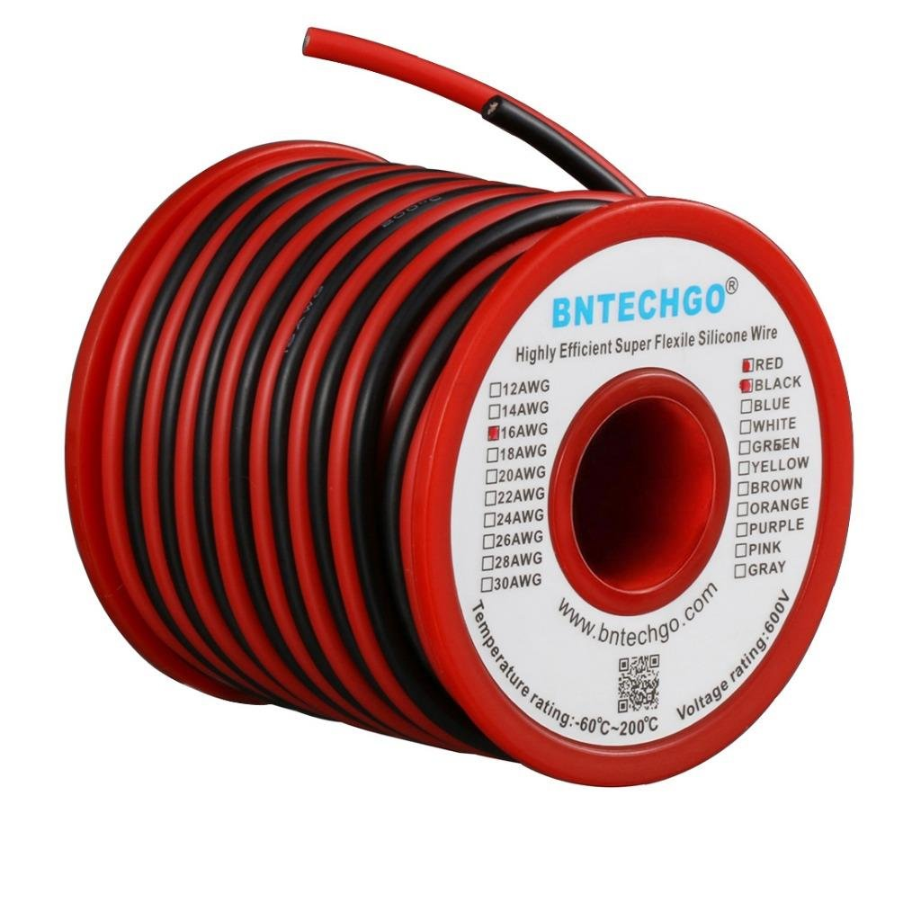 Bntechgo 16 Gauge Silicone Wire Spool 50 Feet Ultra Flexible High Black Battery Cable 100 Ft Wiring Products Temp 200 Deg C 600v Awg 252 Strands Of Tinned Copper 25 And
