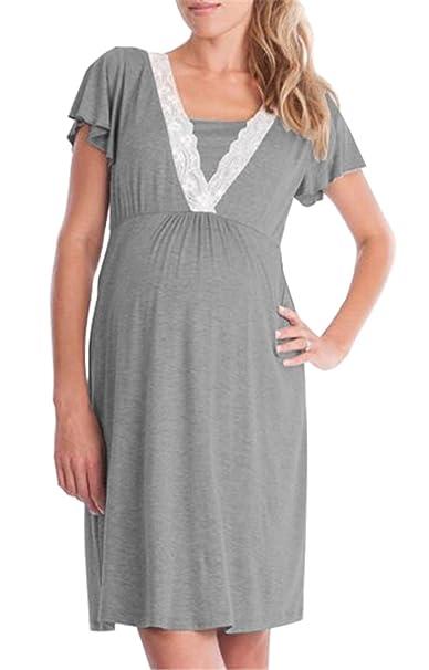 BESTHOO Vestido Para Embarazadas Mujer Vestido a Capa Lactancia Senora Vestidos De Verano Través Rodillera Mujeres Dress Manga Corta Vestido Costura Encaje: ...