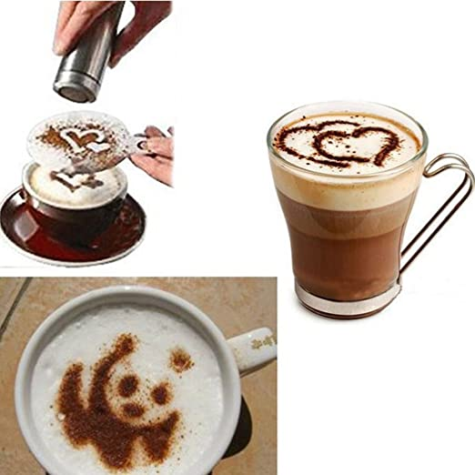 Cake,Presentation Professional Coffee Stencil Bean Design Ideal for Coffee Shop
