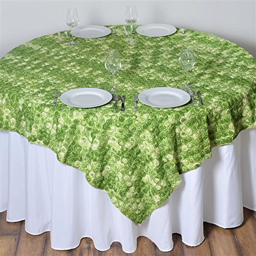 - 72 Inch X 72 Inch Triple-Tone Mini-Rosettes Table Overlays - Apple Green Umbre
