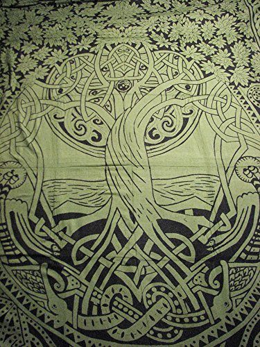 Green Celtic Tree of Life Infinity Knot Tapestry Wall Hangin