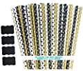 Outside the Box Papers Black and Gold Polka Dot Paper Straws 7.75 Inches 100 Pack Black, Gold, White