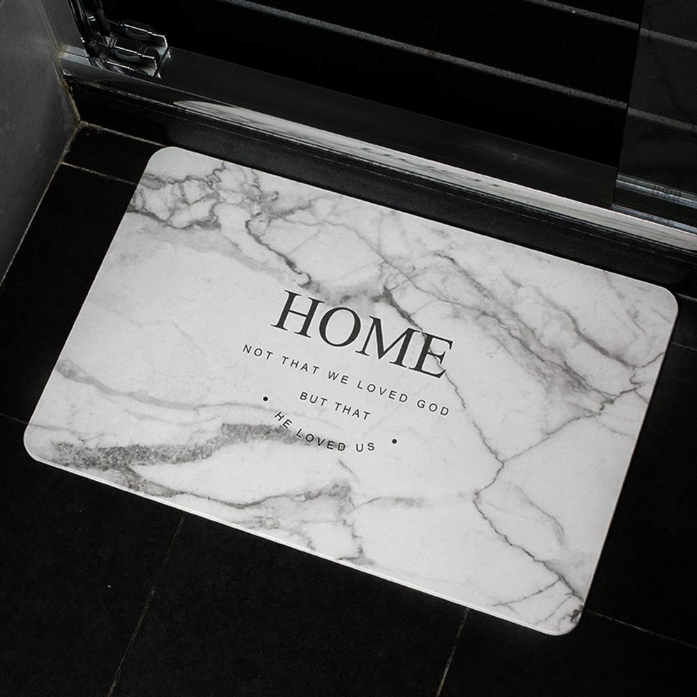 TOMSSL Home Pattern Natural Diatomaceous Earth Bath Mat Absorbent Water Quick-Drying Does Not Fade Furniture Versatile Brushed Surface Mat (Size : 3040)