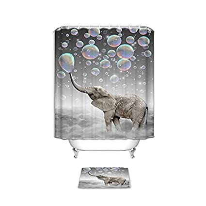 Custom Cute Animal Elephant Bath Shower Curtain Set With Mats Rugs
