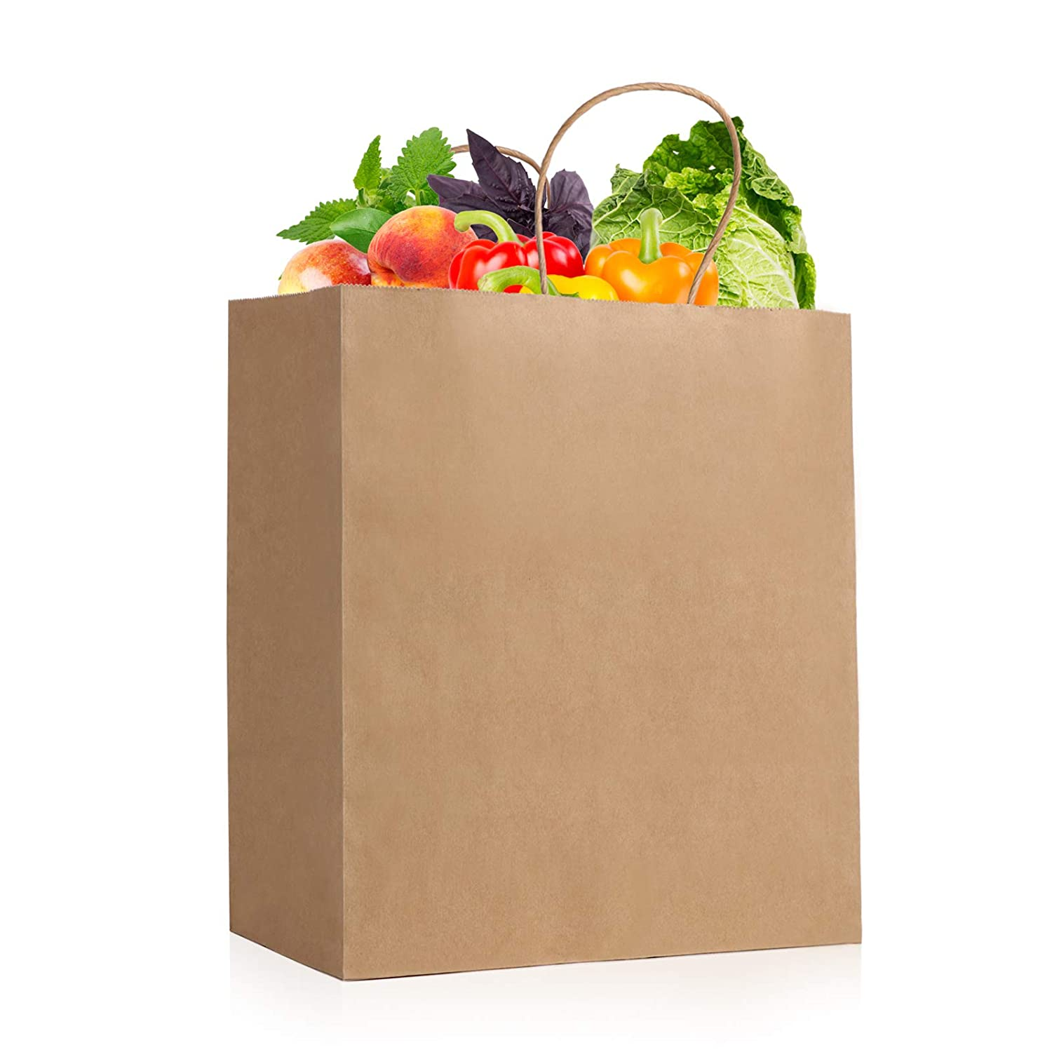 Brown Paper Bags with Handles, Kraft Paper Bags Large, 5 Pack 11 x 11 x 6