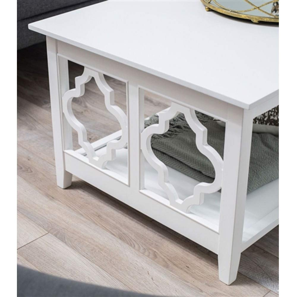 Amazon com white quatrefoil coffee table with solid birch wood frame table coffee wood top style mid century modern french solid myeasyshopping kitchen