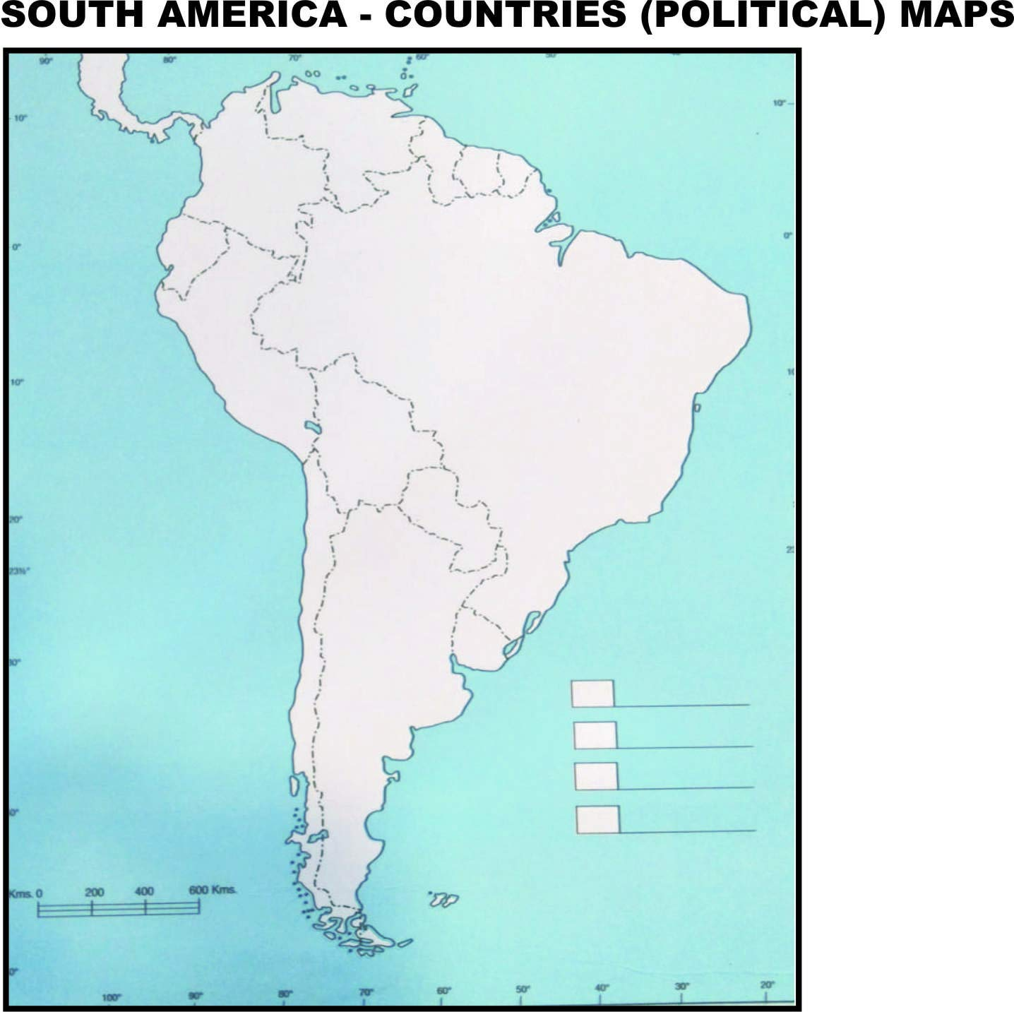 South America Countries Political Practice Maps Set Of 100 Maps