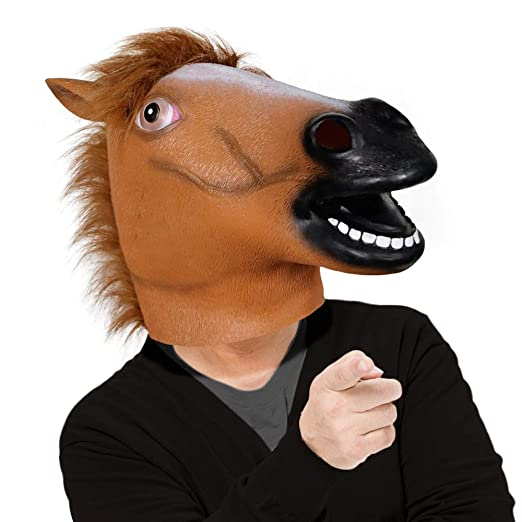b6f73dc8ed1 Amazon.com  Waylike Horse Head Latex Rubber Toy Animal Head Mask Broncos  Fan Full Head Mask for Costume Party and Festivals Brown  Clothing