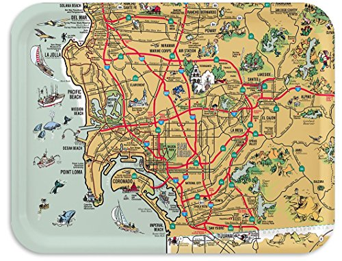(Trays4Us San Diego Illustrated 16x12 inches (Large) Map Serving Tray - 70+ Different Designs)