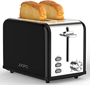JOOFO Toaster 2 Slice Stainless Steel, 6 Shade Settings Extra-Wide Slot Toaster with Bagel, Cancel, Defrost, Reheat Function Removable Crumb Tray, Black