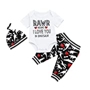 Rucan Hot Sale Toddler Baby Boys Short Sleeve Letter Romper+Dinosaur Pants+ Hat Clothes Set (6-12 Months)