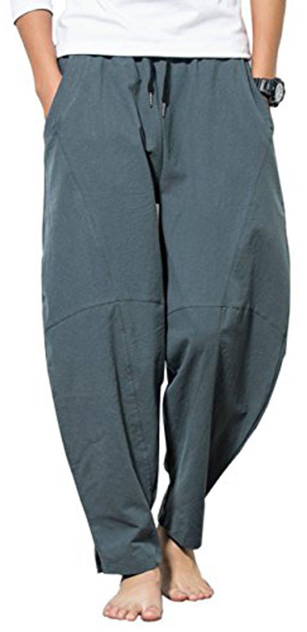 MLDYGYC Men's Summer Casual Cotton Baggy Drawstring Beach Trousers Harem Pants (Waist:39''-40'' US XL = Asian 5XL, Grey Blue)