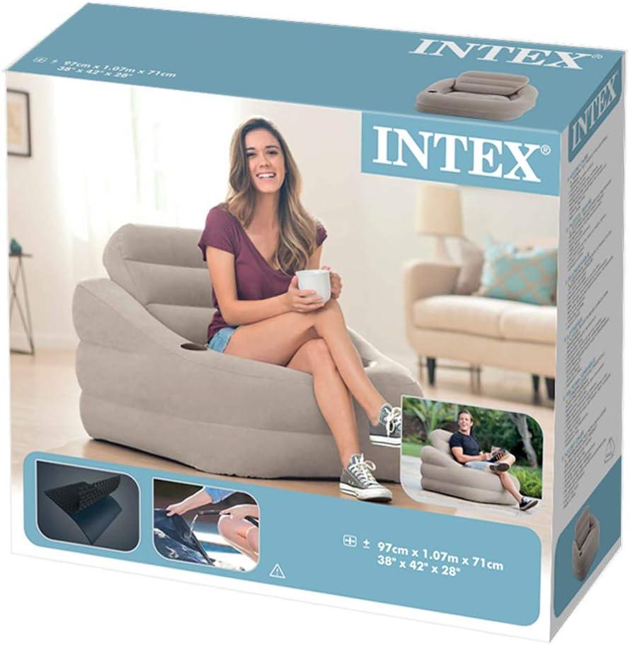 97x107x71 cm Intex-68587 Poltrona Accent Colore Grigio 68587 Tinta Unita