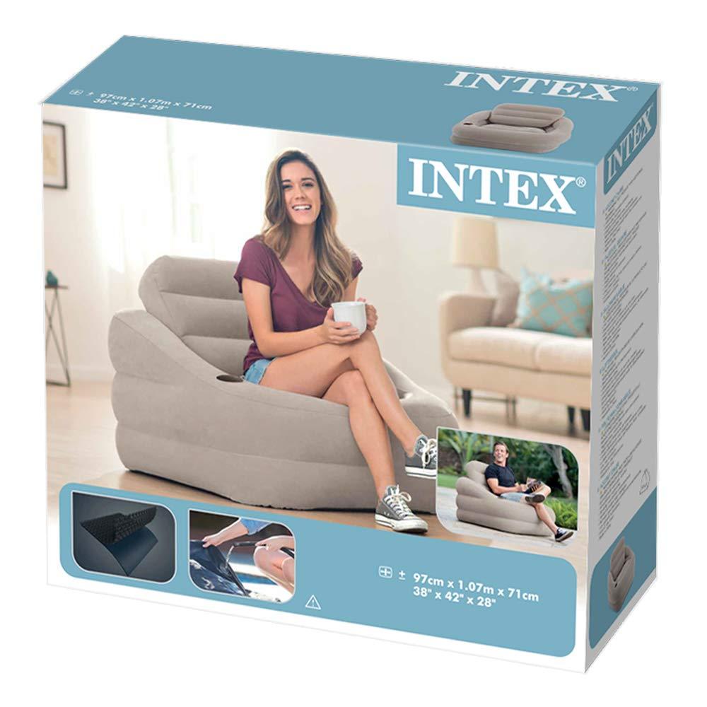 Intex 68587NP - Sillón hinchable con resplado extraíble 97 x 107 x ...