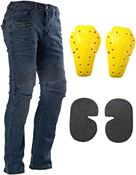 XXL=36, Blue Motorcycle Riding Jeans With Knee Hip Armor Pads Mesh Biker Cycling Protective Pants