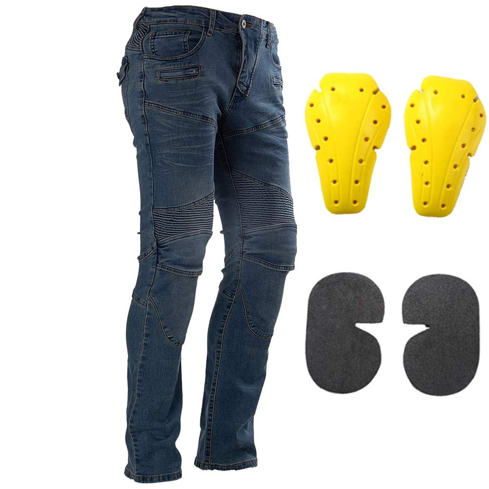 Motorcycle Riding Jeans Armor Racing Cycling Pants with 4 Knee Hip Protective Pads L=32, Black