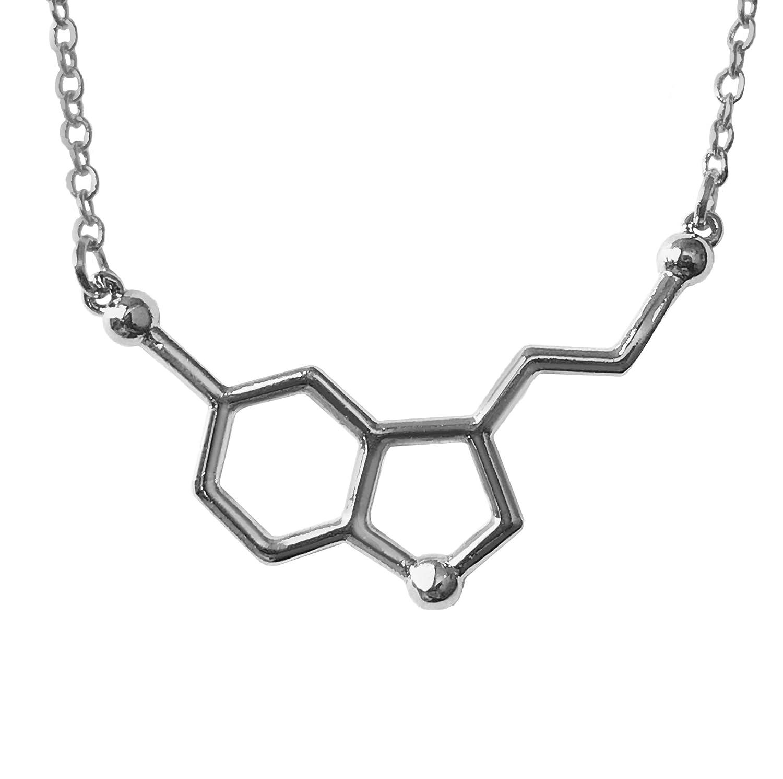 8815da7f20efa Altitude Boutique Happiness Serotonin Molecule Necklace, Serotonin  Neurotransmitter Necklace, Science Jewelry for Science Lovers (Silver, Gold)
