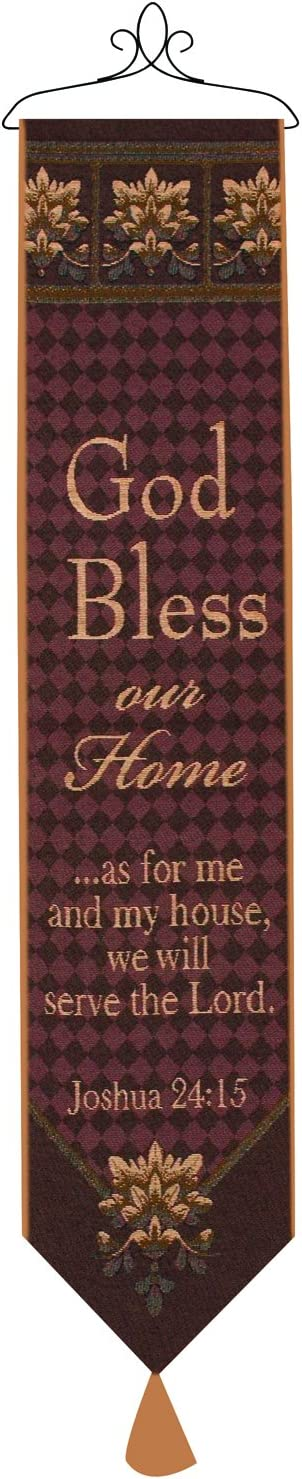 Manual Woodworkers & Weavers Tapestry Bell Pull, God Bless Our Home with Verse