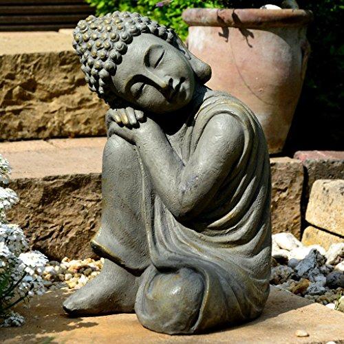 Garten Buddha in klasse Messingoptik aus Stein Statue Figur ...