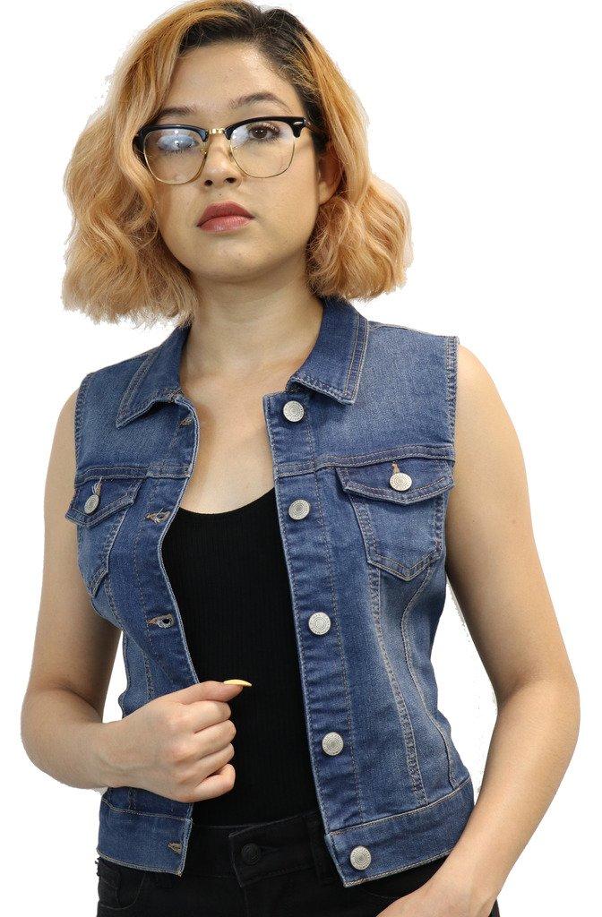 ReVeaL AppareL Women's Classic Medium Denim Vest (MD Medium)