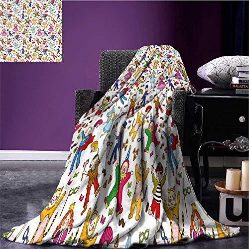 RenteriaDecor Kids Cozy Flannel Blanket Native American Pirate Princes Cat Costume Wearing Children Pattern Colorful Abstract Blanket for Sofa Couch Bed Multicolor Bed or Couch 80