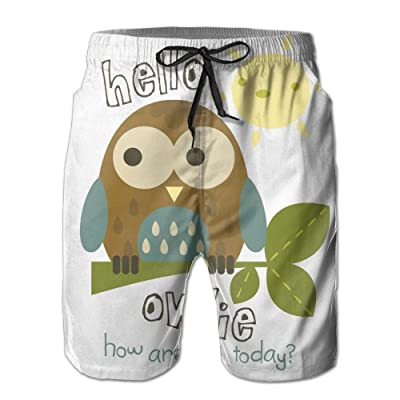 Weeben Hello Owl Beach Shorts Men Quick Dry with Pockets