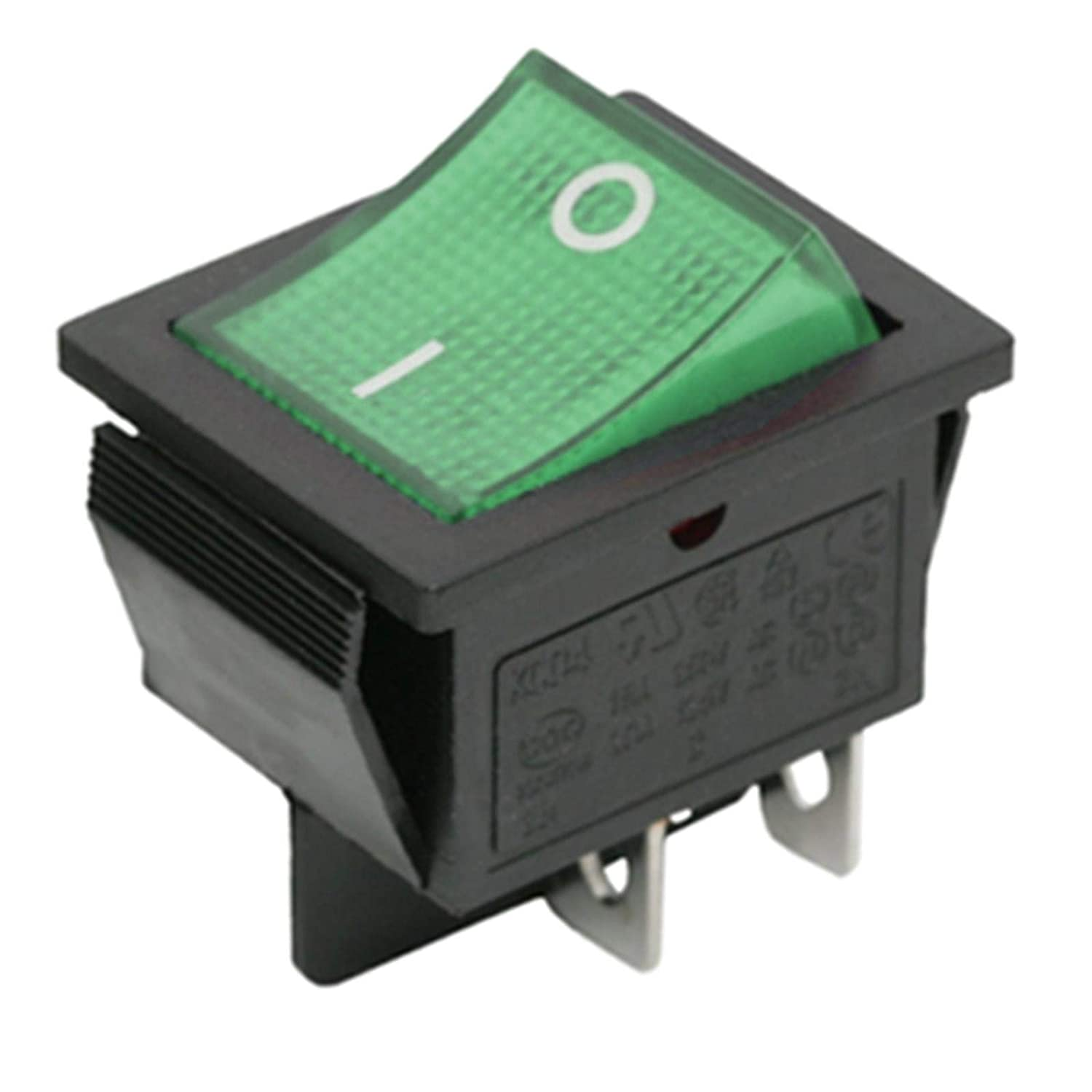 Green Illuminated DPST Latching Rocker Switch On-Off Snap In 22x30mm 4pin Daier