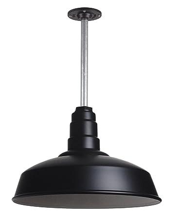 The Carson Modern Farmhouse Pendant Light Steel Barn Light with Rigid Stem for Ceiling Heavy Duty Steel Light Made in America Strong Industrial Lighting Matte Black