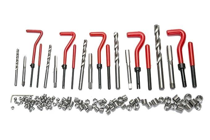 FreeTec - Juego de 131 piezas para reparación de roscas, broca, helicoidal, para automóvil, para motor, M6, M8, M10, M12, M12, casquillo roscado: Amazon.es: ...