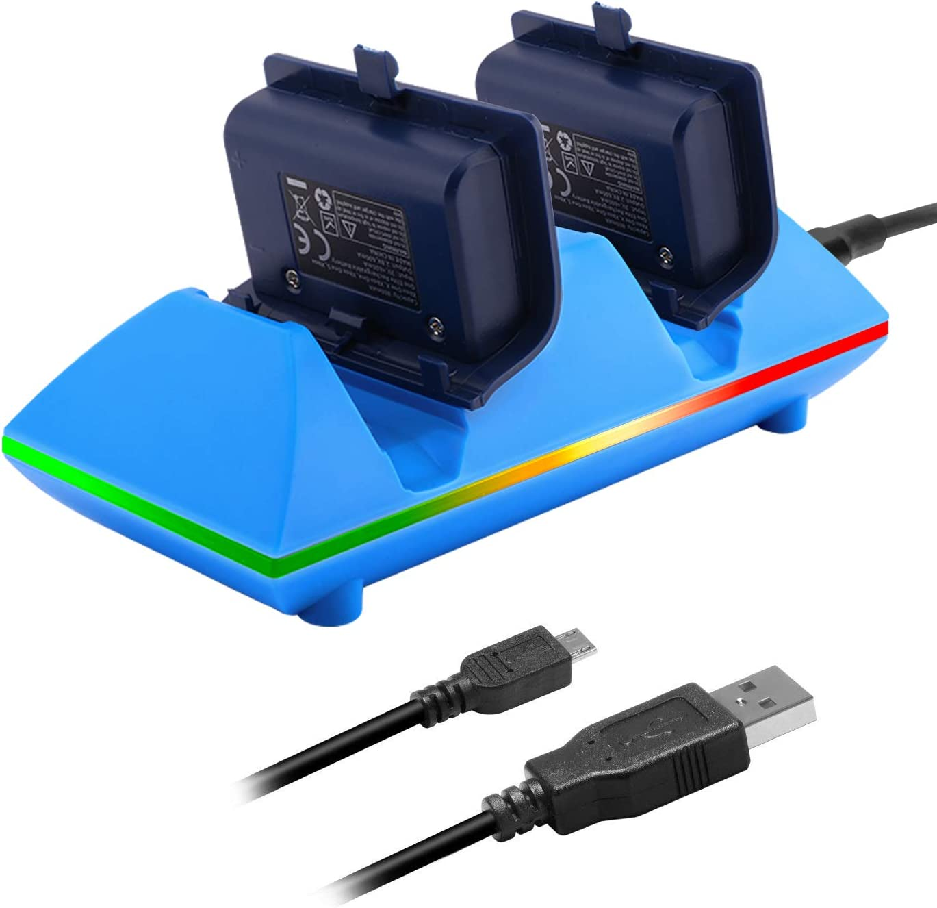 MoKo Xbox One/One S Controller Charger Dock Kit 2 x 800mAh Rechargeable Battery Packs Charging Station for Xbox One One S One X Xbox One Elite Controllers - Blue