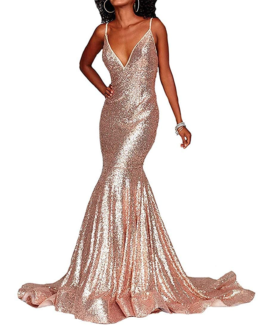 pink goldb liangjinsmkj gold Sequin Mermaid Prom Dresses V Neck Evening Gown Long Backless