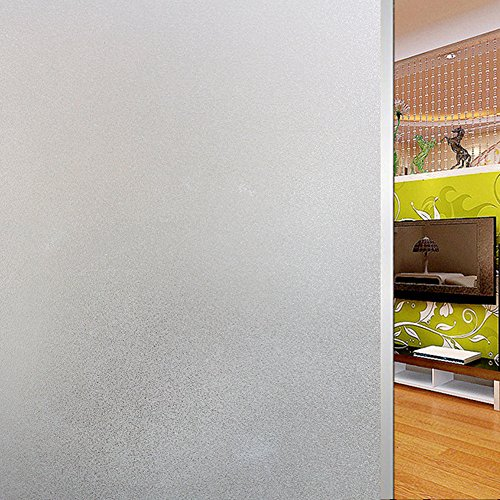 Soqool Frosted Window Film Self Adhesive Window Contact Paper Decorative Privacy Window Film for Bathroom/Office/Home Window Decor 17.7