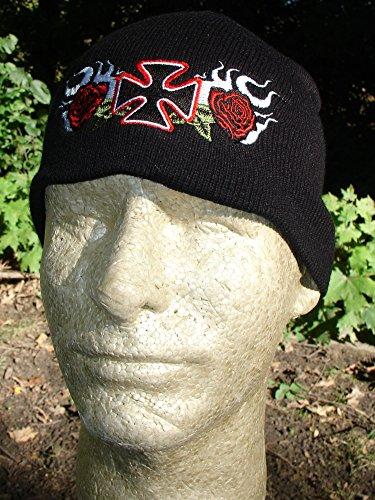 Embroidered Biker Black Red White Roses Maltese Iron Cross Beanie Stocking Cap Hat