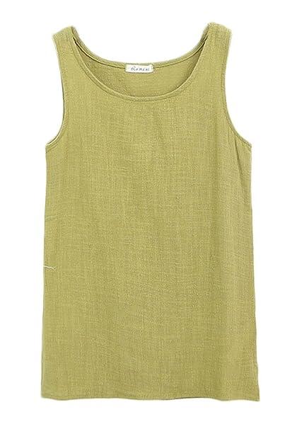 3432a742d6 Soojun Women s Summer Plain Sleeveless Solid Cotton Linen Tank Tops ...