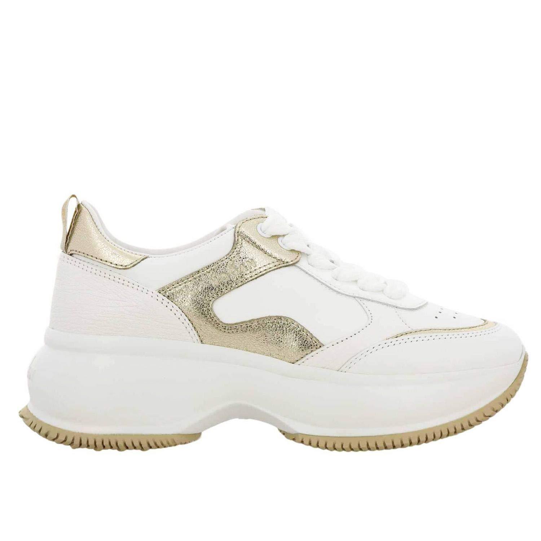 - Hogan Women's HXW4350BN50KOX0ST1 White Leather Sneakers