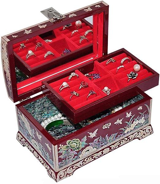 2 Capas Rectángulo Vintage Caja de baratijas diminuta Caja de colección de Joyas con Incrustaciones de Caja de joyería de Laca Madre Adornado Acabado Antiguo Cofres organizadores Grabados: Amazon.es: Hogar