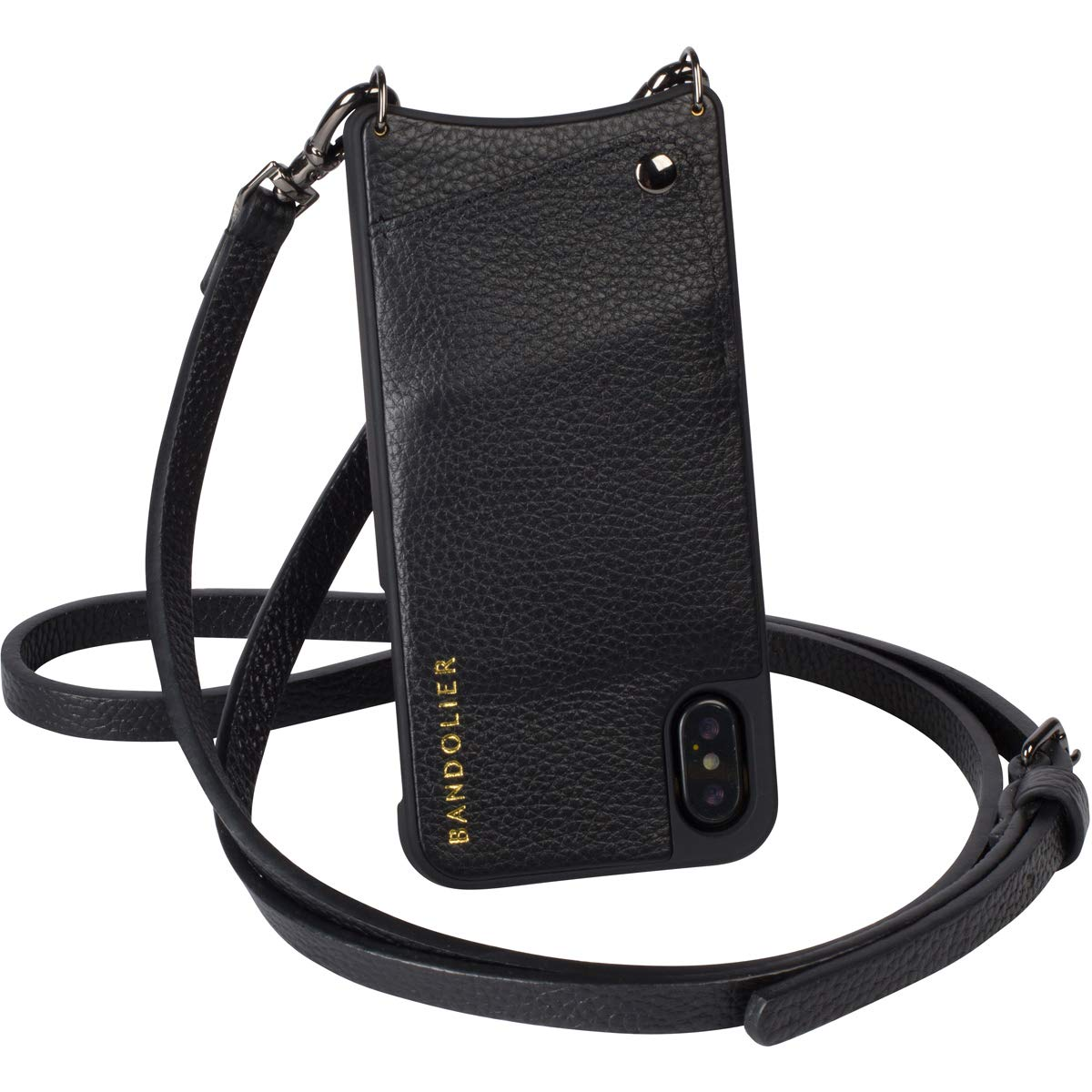 Bandolier [Emma] Crossbody Phone Case and Wallet - Compatible with iPhone XR - Black Leather with Pewter Accent