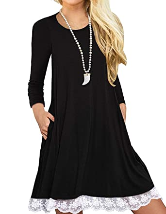 cbdfd7bc962 Women's Long Sleeve Lace Tunic Dress with Pocket Casual Loose Fit Cotton  Swing Dress for Legging at Amazon Women's Clothing store: