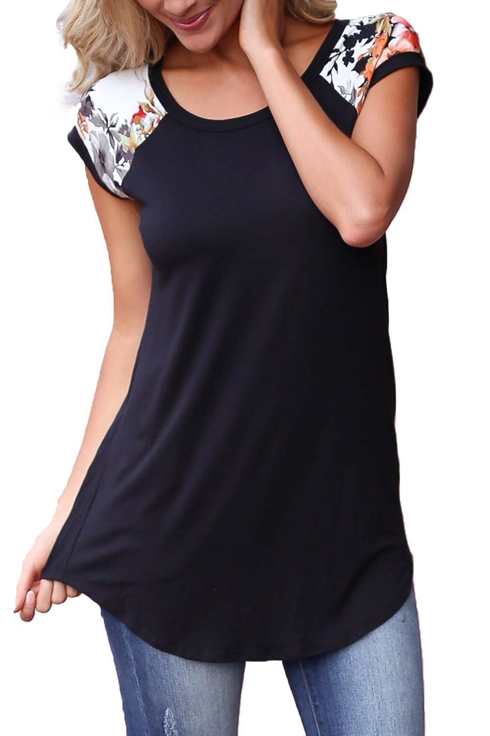 Allimy Women Summer T Shirts Casual Cute Round Neck Short Sleeve Floral Tunic Tops Blouses Black 2X