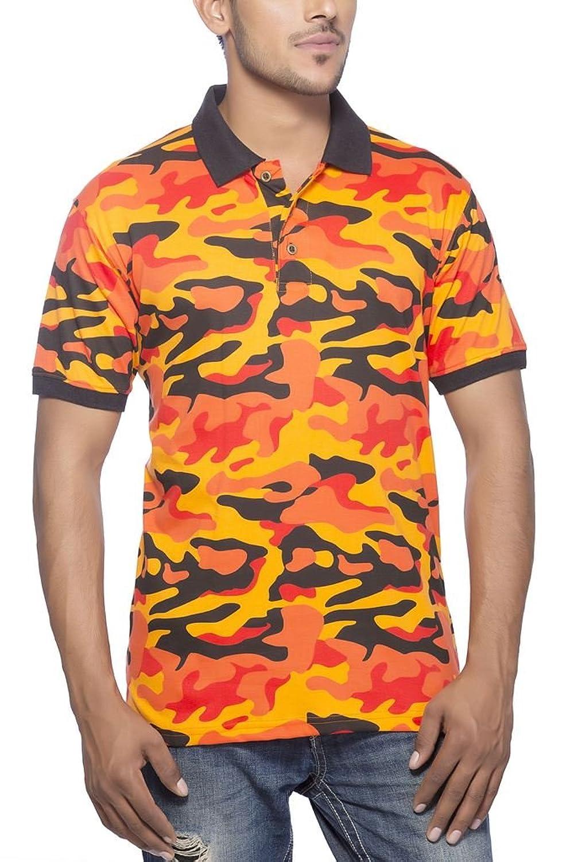 Clifton Mens Army Printed Half Sleeve Collar Polo T-Shirt-Bright Orange