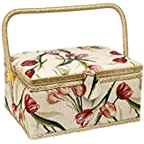 Sewing Basket with Tulip Floral Print Design- Sewing Kit Storage Box with Removable Tray, Built-In Pin Cushion and Interior Pocket - Large - 12'' x 9'' x 6'' - by Adolfo Design