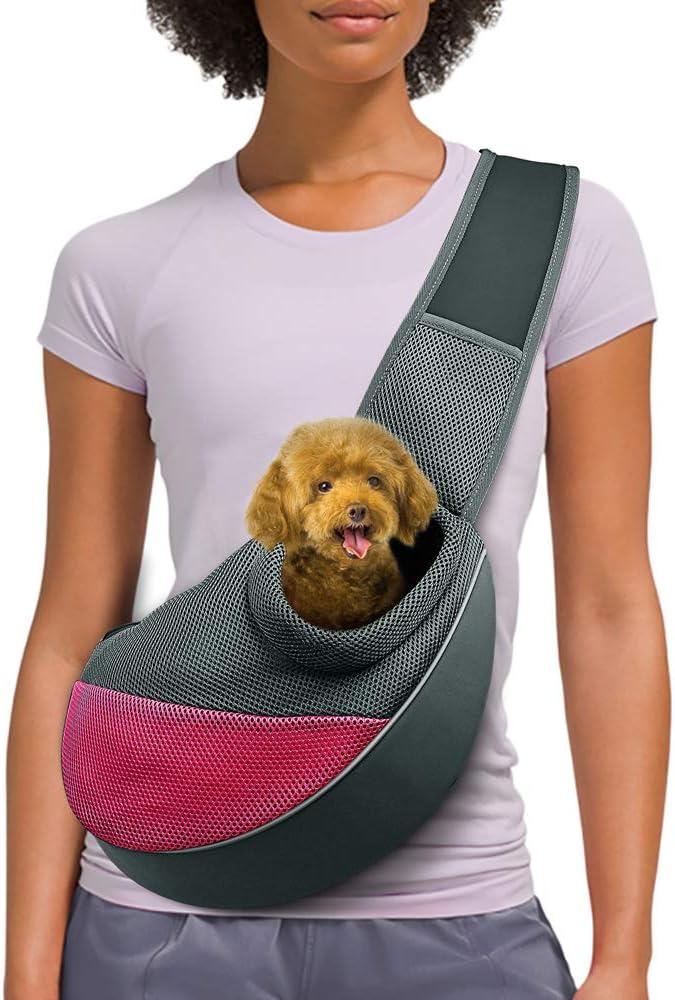 AOFOOK Dog Cat Sling Carrier Adjustable Padded Shoulder Strap with Mesh Pocket for Outdoor Travel