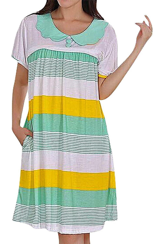 Flora Women's Maternity Nursing Night Midi Dress Eclectic Designs Short Sleeve
