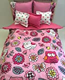 18 inch doll bedding comforter set pink and white owls comforter and 5 pillows Hand Crafted to fit American Girl and similar size dolls