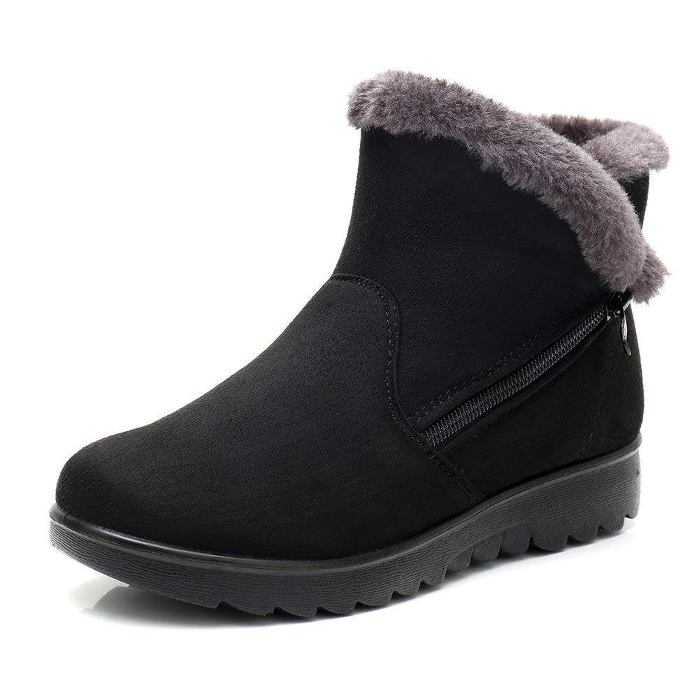 Fur Booties for Women, Sunyastor Women Boots Slip-On Soft Snow Boots Flat Winter Fur Lined Ankle Boots Shoes by Sunyastor Shoes