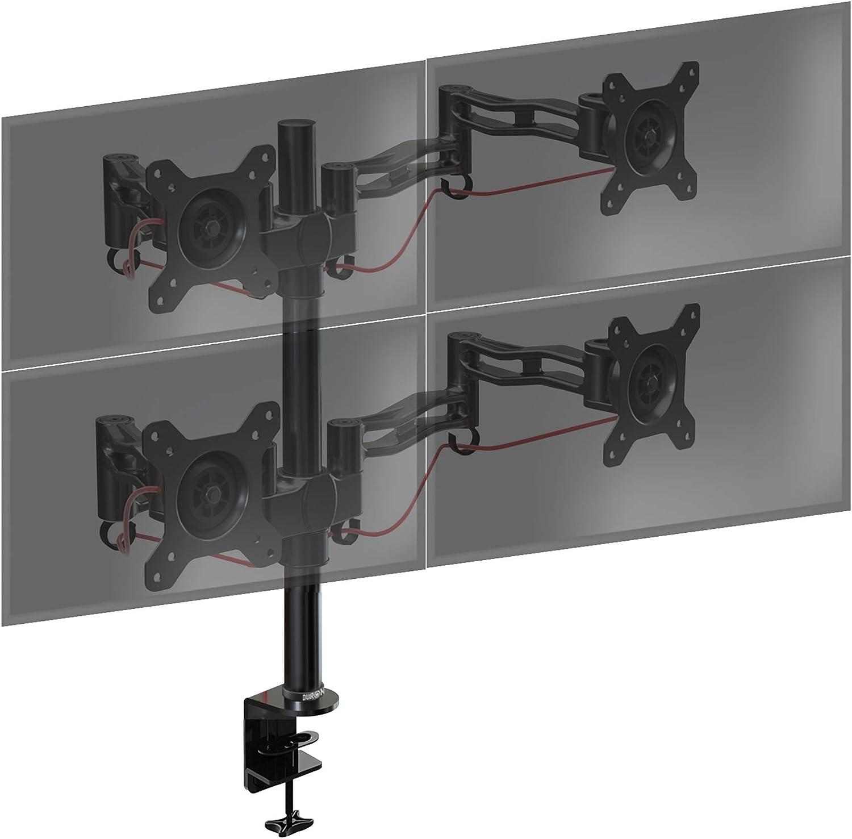 Duronic Monitor Arm Stand DM354 | Quad PC Desk Mount | Aluminium | Height Adjustable | For Four 13-27 LED LCD Screens | VESA 75/100 | 8kg Per Screen | Tilt +15°/-15°,Swivel 180°,Rotate 360°