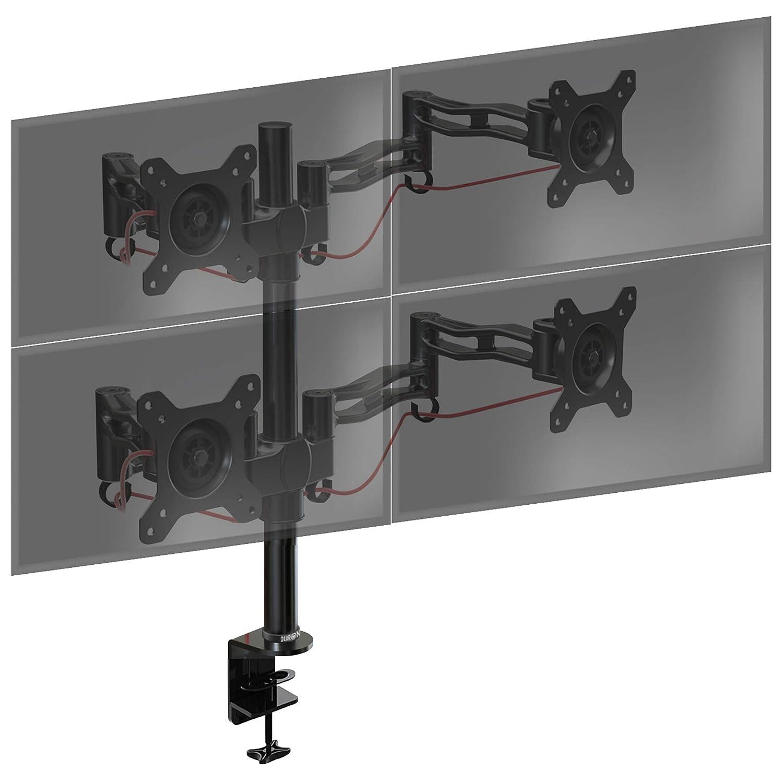 Tilt /±15/°|Swivel 180/°|Rotate 360/° Duronic DM353 PC Monitor Arm Stand Triple LCD LED Screen Desk Mount Bracket with Tilt and Swivel