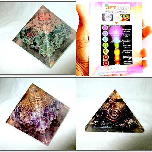 - Jet Exquisite Three (3) Green Mica, Amethyst ,Black Tourmaline Orgone Pyramid 1 each Best Offer Free Booklet Jet International Crystal Therapy Crystal Gemstones Copper Metal