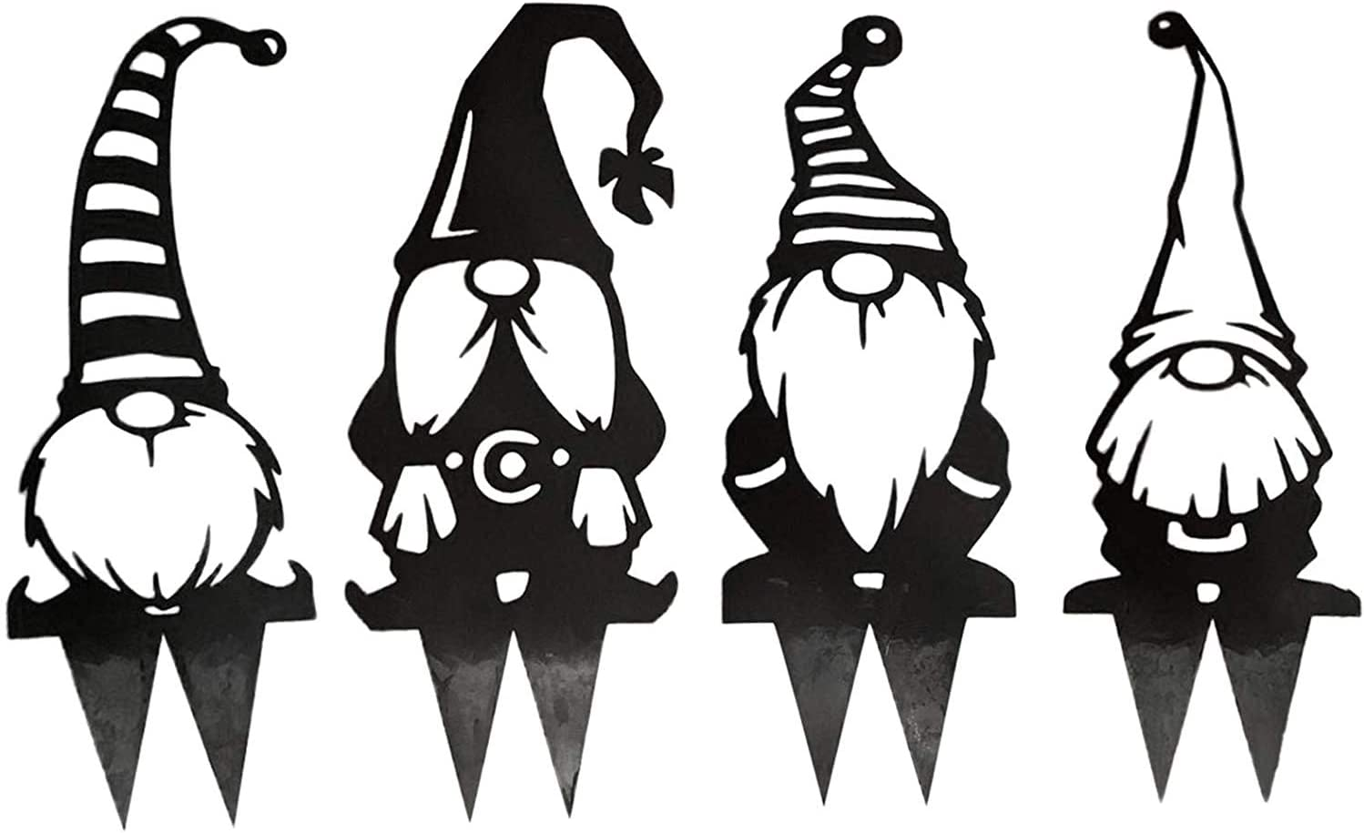 4PCS Steel Gnomes Decoration, Cute Hollowed Out Steel Garden Gnomes Statue, Art Dwarf Decor Branch Ornaments for Home Garden Yard Patio Outdoor Decoration