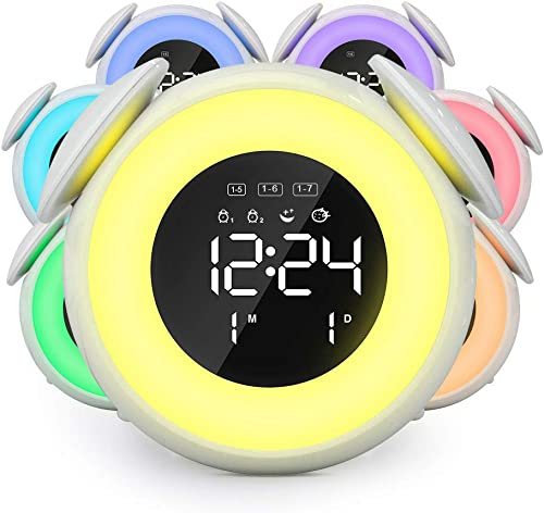 OENEW Digital Alarm Clock for Bedroom – 6 Color Wake Up Night Light Lamp for Kid, 3 Led Mirror Dual Alarm with USB Charger Port, Sunrise Sunset Simulation, Weekday Mode, 4 Level Dimmer, 25 Ring Tones